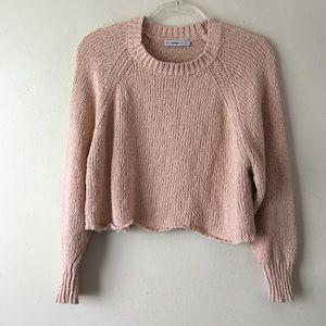 Zara Knit Wavy Hem Light Pink Cropped Sweater